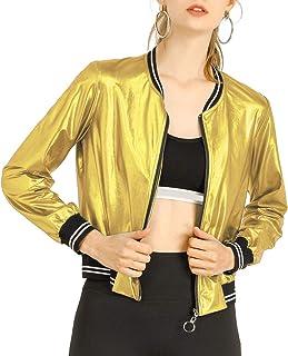 Allegra K Chaqueta De Bombardero Moda Holográfica Cremallera Ligero Metálico Collar del Soporte para Mujer