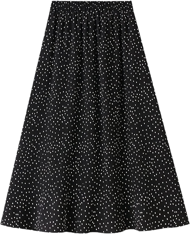 Spring Fashion Chiffon Chic Dot High Waist A Line Pleated Skirts Women Printed Mid-Calf Casual Skirt