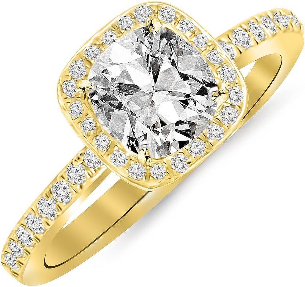 0.75 Ctw 14K White Gold Cushion Engag Diamond Certified Halo GIA Financial sales sale free shipping