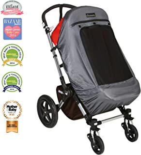 SnoozeShade Plus Deluxe | Universal fit sun shade for strollers | 360-degree sun and UV protection | Sleep shade and mosquito net | Recommended for 6m+