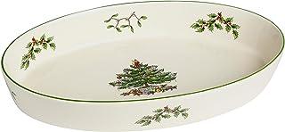"""Spode Christmas Tree - Green Trim 10.25"""" Oval Baker"""