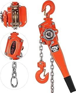Happybuy 1-1/2 Ton Lift Lever Block Chain Hoist 5Feet Chain Come Along Portable Come Along Puller Lift Hoist