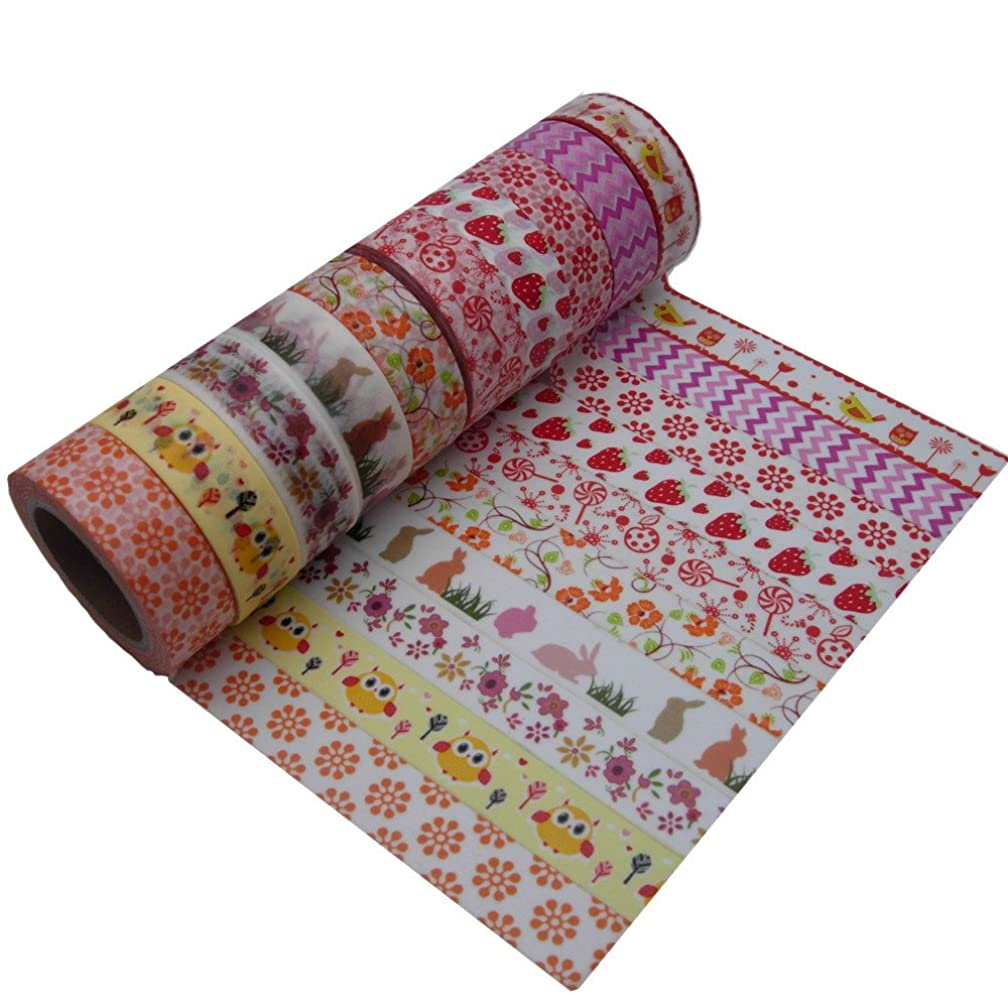 DIY Cute Red Decorative Washi Tape Lovely Flower Masking Tape for Home Decoration Scrapbooking Photo Album