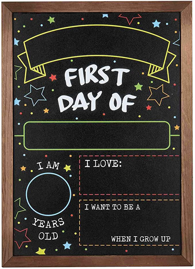 """First Day Last Day of School Chalkboard Double Sided Sign with Frame - 14"""" x 10"""""""