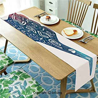 Wave Table runner for Farmhouse Dining Coffee Table Decorative,Life is a Wave Catch It Inspirational Quote Shaka Sign Cute Floral Sea Details Art Decorative 13