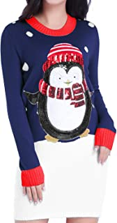 v28 Women Christmas Sweater, Ugly Ladies Cute Bear Xmas Knit Sweater Dress