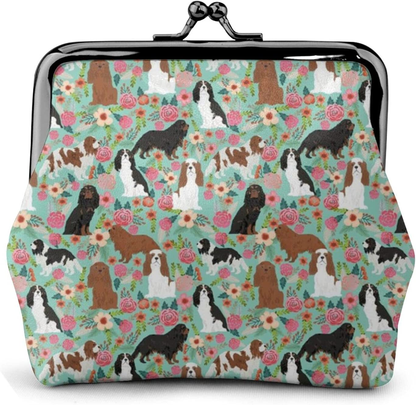 Cavalier King Charles 1448 Coin Purse Retro Money Pouch with Kiss-lock Buckle Small Wallet for Women and Girls