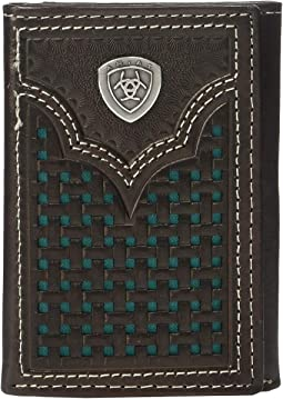 Ariat Shield Trifold Wallet w/ Turquoise Basketweave Inlay
