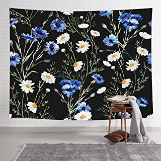 Floral Plants Tapestry Wall Hanging, Watercolor Cornflower Daisy Pattern Botanical Engraving Style Tapestries, Wall Art Tapestry for Bedroom Living Room Collage Dorm Wall Blanket, 71X60 Inches, Black