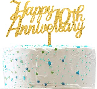 Happy 10th Anniversary Cake Topper,Gold Glitter Cheers to 10 Years Sign,10th Birthday/Wedding Anniversary Party Decorations