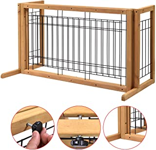 Pet Gate Playpen Adjustable Indoor Solid Wood Construction Pet Fence Free Standing Log Color