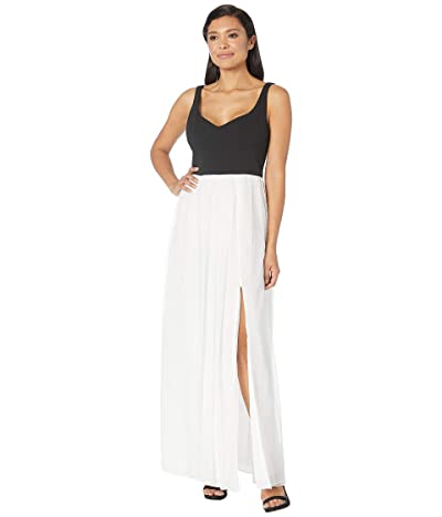 Adrianna Papell Sleeveless Shirred Evening Gown (Black/Ivory) Women
