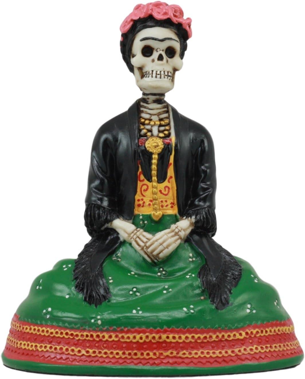 Gifts & Decor Mexican Dias De Los Muertos Sitting Lady Skeleton Day of The Dead Sculpture Figurine
