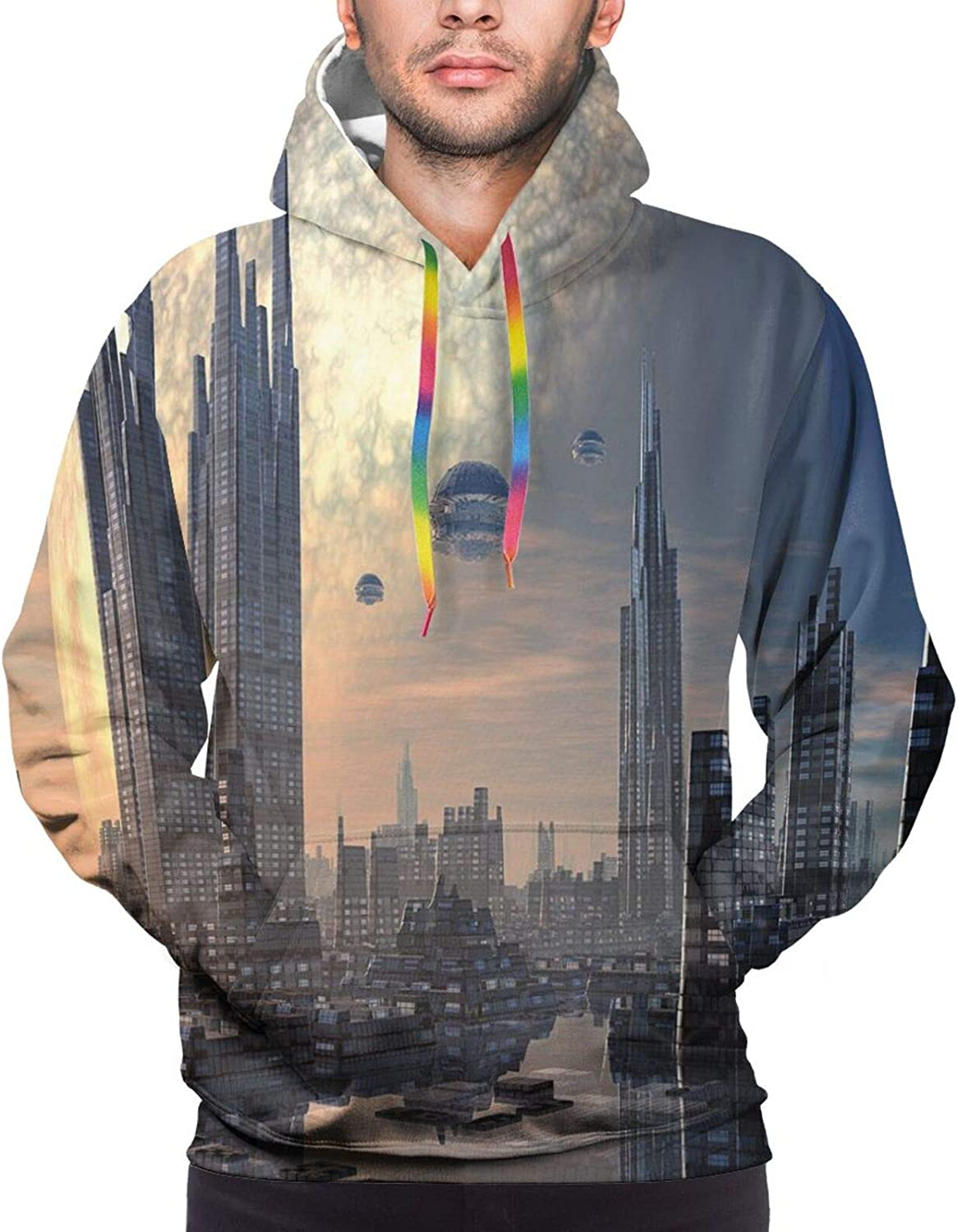 Men's Hoodies Sweatshirts,Space Theme View of The Planets from Earth Science Room Art with Sun and Moon