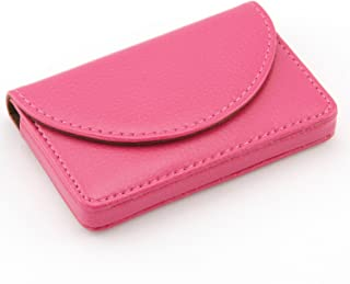 Partstock(TM) Women Leather Business Name Card Wallet / Holder 25 Cards 3.9L x 2.8W inches with Magnetic Shut For ladys.(Rose red)