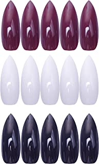 Laza 72 Pcs Colorful Fake Nails 3 Pack Stiletto Almond Super Long UV Coat Gold Red White Madder Prune Mulberry Full Cover Artificial Acrylic Nails - X'mas Golden Red