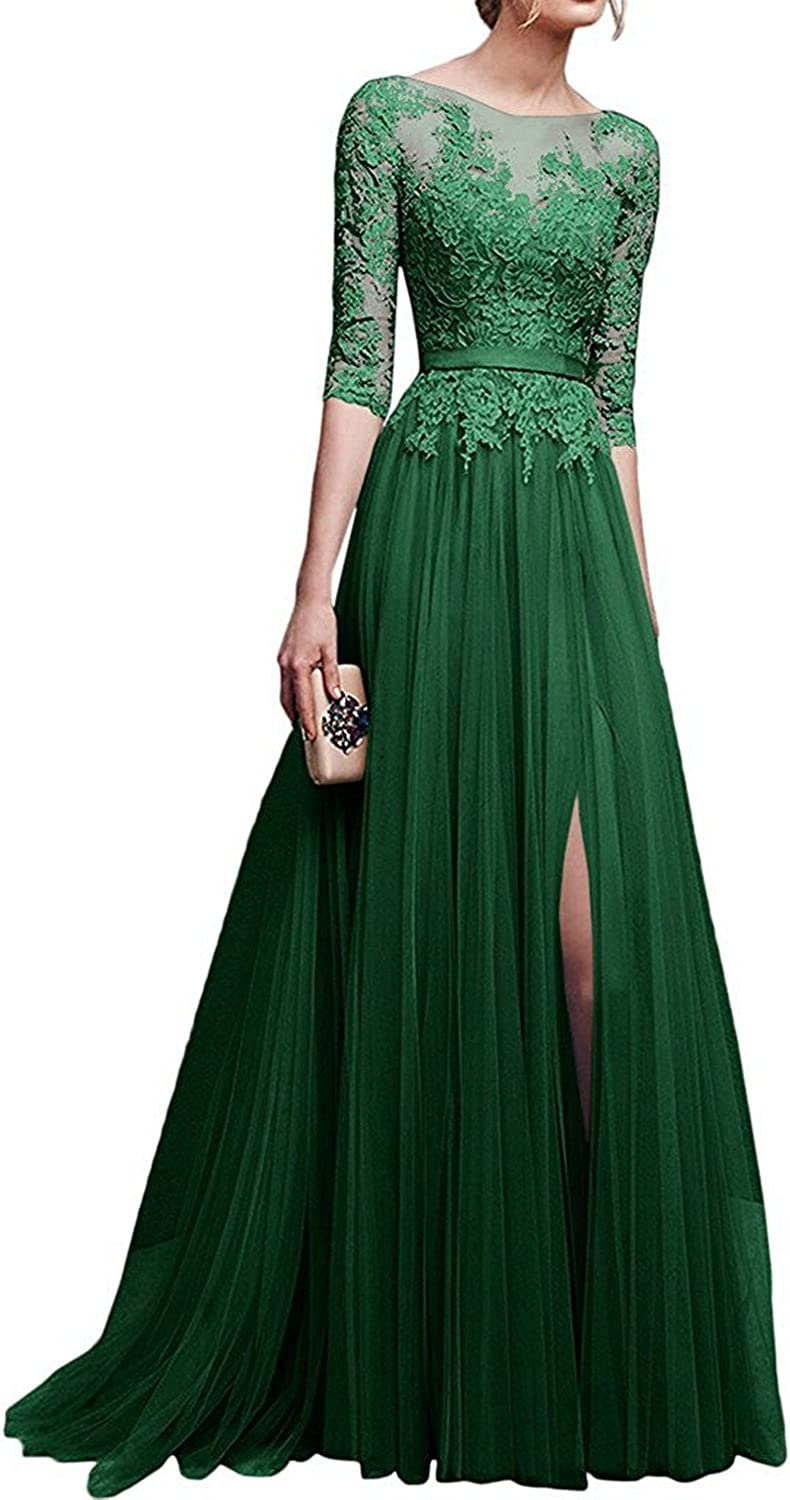 Prom Dress Long Lace Formal Evening Dress Long Sleeves Prom Gowns with Split Party Dresses