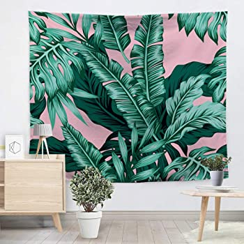 Amazon Com Softbatfy Tropical Leaves Wall Hanging Tapestry Pink Green Leaves Living Room Office Tapestry Bedroom Dorm Headboard Tapestry Home Decor Large 58 79inches Pink Home Kitchen