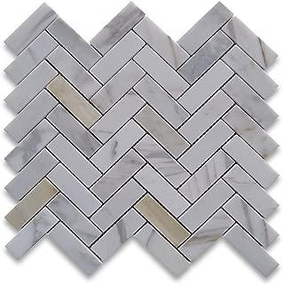 Calacatta Gold Italian Calcutta Marble Herringbone Mosaic Tile 1 x 3 Polished