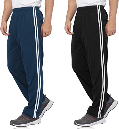 Fflirtygo Combo of Men's Cotton Track Pants, Joggers for Men, Men's Leisure Wear, Night Wear Pajama, Blue Color and Black Color with White Stripe and Pocketsfor Sports Gym Athletic Training Workout