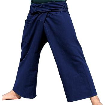 RaanPahMuang Plain Thicker Muang Cotton Fisherman Wrap Pants Grey Green