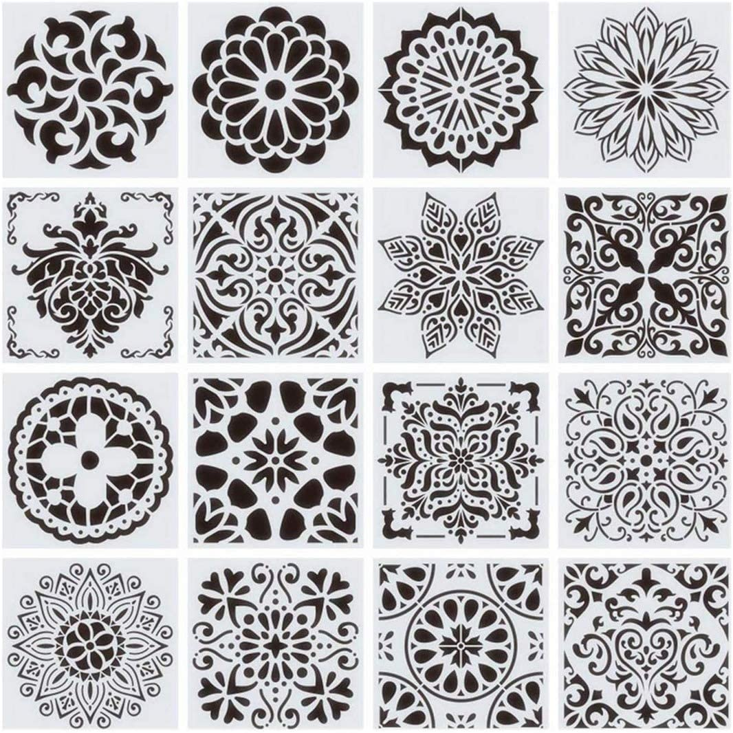 16-Pack 6x6Inch Reusable Painting Tulsa Mall Stencils Wall for Floor Fashion Tile