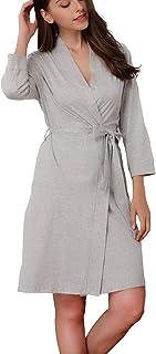 8c29a077ce327 Giorzio Femme Kimono Peignoir Coton Robe Déshabillé Couleur Pure Manche 3/4  Vêtements de Nuit