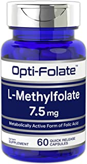 Opti-Folate L-Methylfolate 7.5mg (60 Capsules) | Optimized and Activated | Non-GMO, Gluten Free | Methyl Folate, 5-MTHF