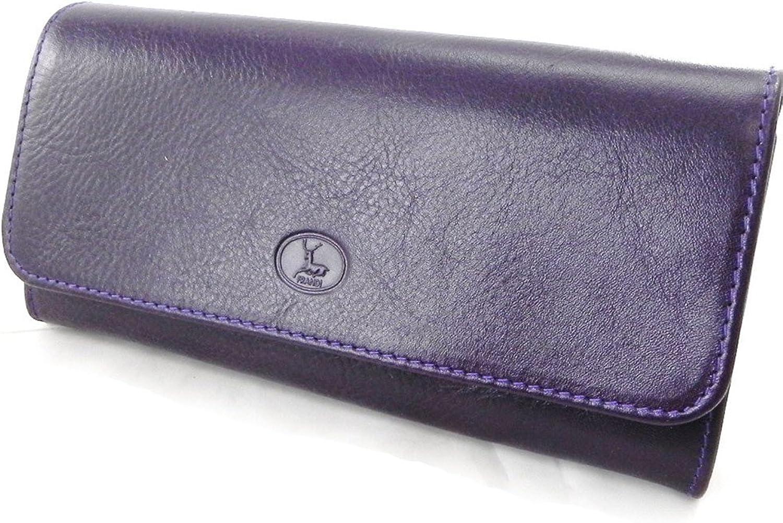 Large leather wallet 'Frandi' york purple green.