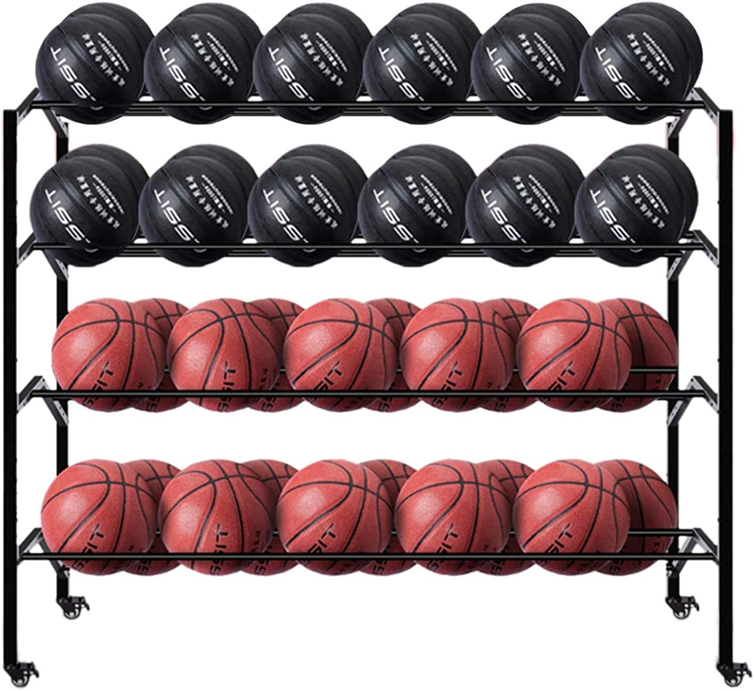 Double-Sided low-pricing Virginia Beach Mall Large Basketball Equipment Rack Storage 4-Tier Por