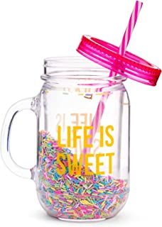 Fun Mason Jar Plastic Cups: Large Break Resistant, BPA Free To-Go Mug with Lid and Handle - Perfect as Party Cups, Kids Travel Cups, Wedding Party Cups (Life is Sweet, Single)