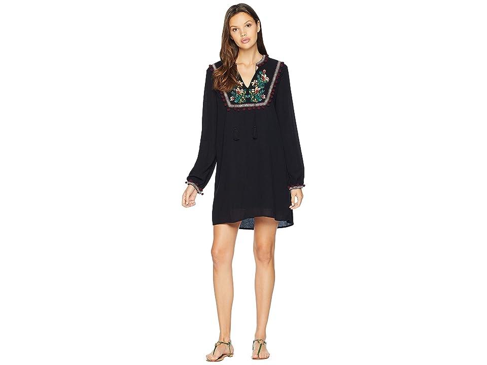 Jack by BB Dakota Tambourine Dream Embroidered Crinkle Rayon Dress (Black) Women