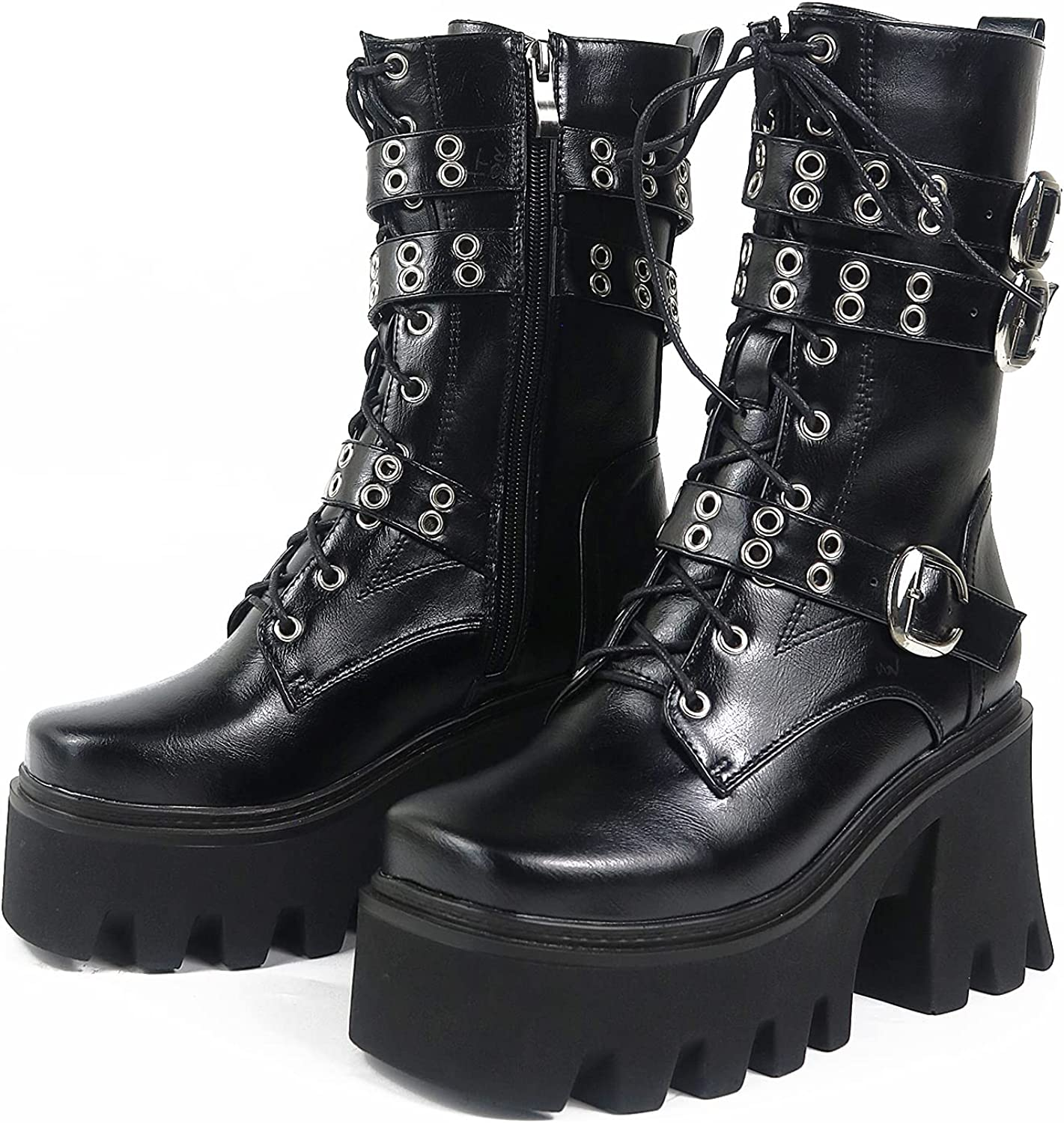 CYNLLIO Women's Platform Boots Goth Punk Multi Buckle High Heel Boots Cool Studded Ankle Booties with Zipper