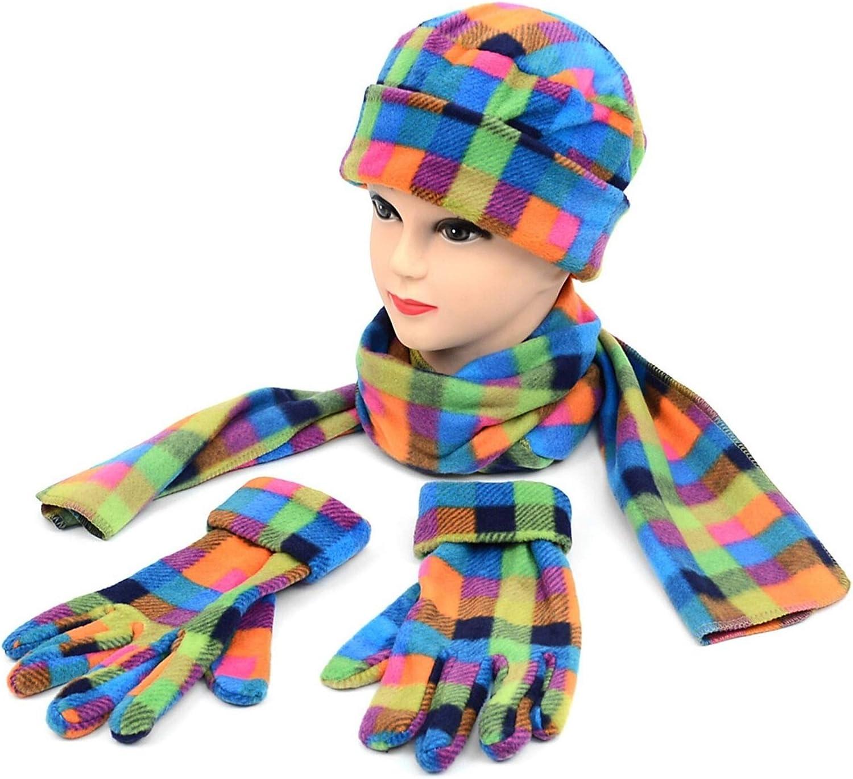 Women's Colorful Fleece Plaid 3-Piece gloves scarf Hat Winter Set