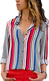 Blibea Womens V Neck Striped Chiffon Blouses Long Sleeve Button Down Shirts Top