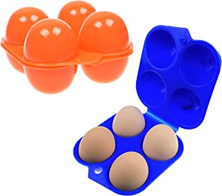 Pack of 2 pieces Plastic Portable Camping 4 Eggs Carrier Container Case Outdoor Egg Box by MERRY BIRD
