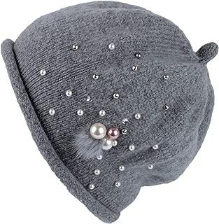 WITHMOONS Knit Beanie Slouchy Winter Women Pearl Earflap Hat SL51237