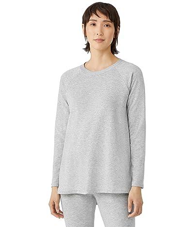 Eileen Fisher Crew Neck Raglan Sleeve Tunic Sweatshirt in Tencel Organic Cotton Fleece