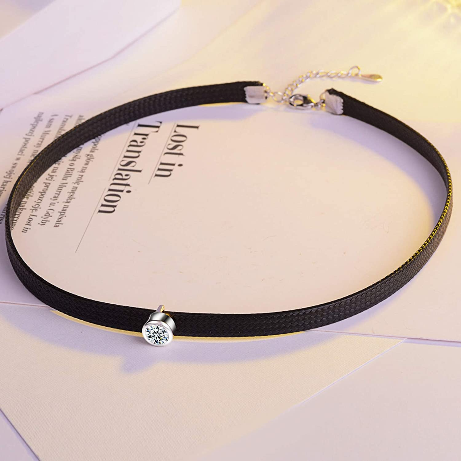 N/A Necklace Pendant Neck Chain Short Necklace Female Black Rope Diamond Clavicle Chain Necklace Collar Decoration Christmas Birthday Party Gifts