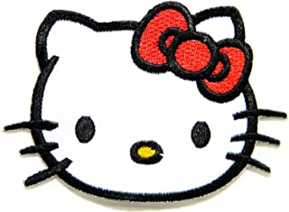 Hello Kitty Cartoon Patch (Red Bow)embroidered Iron on Hat Jacket Hoodie Backpack Ideal for Gift/ 7.5cm(w) X 5.5cm(h)