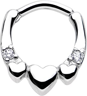 """Body Candy Stainless Steel Clear Accent Hearty Hug Hearts Septum Clicker 14 Gauge 5/16"""""""