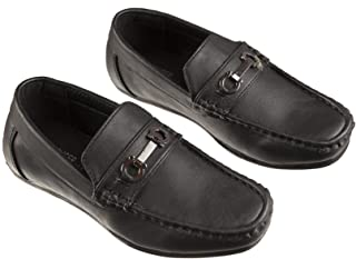 Fouger Boys Fashion Loafers Slip on Dress Shoes in White and Black, Sizes Toddlers 6 to Big Boys 8