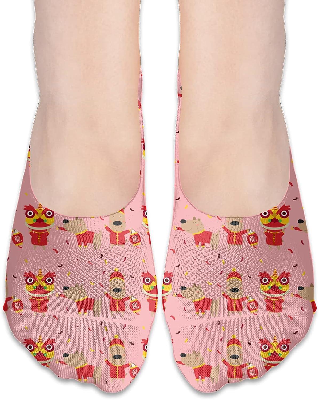No Show Socks Women Men For Cartoon Dog Lion Dragon Flats Cotton Ultra Low Cut Liner Socks Non Slip