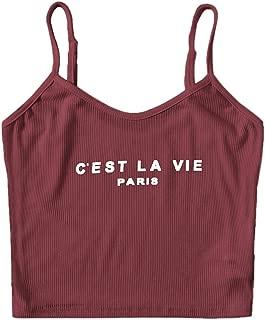 Verdusa Women's Casual Slim Fit Slogan Print Rib-Knit Cami Crop Top
