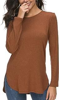 Women Long Sleeve Loose Casual Side Split T Shirt Tunic Tops