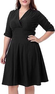 Nemidor Women's Vintage 1950s Style Sleeved Plus Size Swing Dress
