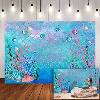 Mermaid 8x10 FT Photography Backdrop Cute Collection of Mermaids with Different Types of Sea Creatures Marine Print Background for Party Home Decor Outdoorsy Theme Vinyl Shoot Props Teal Orange