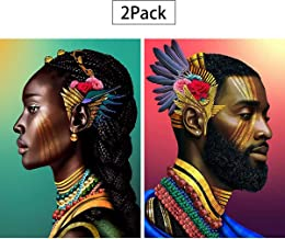 2 Pack 5D Full Drill Diamond Painting Kit,Evermarket DIY Diamond Rhinestone Painting Kits for Adults and Children Embroidery Arts Craft Home Decor 12 by 16 inch (Exotic Man and Woman)