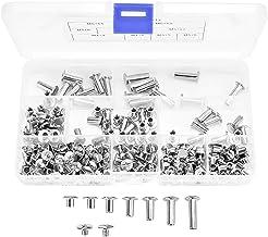 230 stuks Chicago binding schroeven kits 7 maten metalen ronde kop bevestigingsschroef klinknagels voor DIY lederdecoratie...