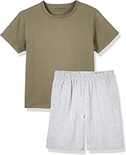 Kid Nation Boys Cotton with Elastane Crew Neck Pajamas Sets Casual Short Sleeve T Shirt and Shorts 4-12 Years